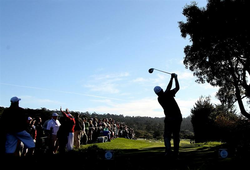 PEBBLE BEACH, CA - FEBRUARY 13:  Phil Mickelson tees off on the second hole at the AT&T Pebble Beach National Pro-Am- Final Round at the Pebble Beach Golf Links on February 13, 2011 in Pebble Beach, California.  (Photo by Jed Jacobsohn/Getty Images)