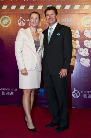 HAIKOU, CHINA - OCTOBER 29:  Annika Sorenstam and her husband attend red carpet during day three of the Mission Hills Start Trophy tournament at Mission Hills Resort on October 29, 2010 in Haikou, China.  (Photo by Victor Fraile/Getty Images for Mission Hills)