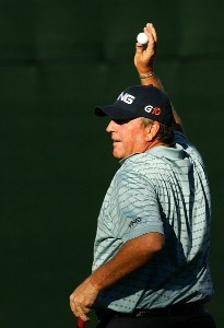 Mark Calcavecchia waves to the crowd after finishing his round on the 18th hole during the third round of the TOUR Championship, the final event of the new PGA TOUR Playoffs for the FedExCup at East Lake Golf Club on September 15, 2007 in Atlanta, Georgia. PGA TOUR - 2007 THE TOUR Championship presented by Coca-Cola - Third RoundPhoto by Streeter Lecka/WireImage.com