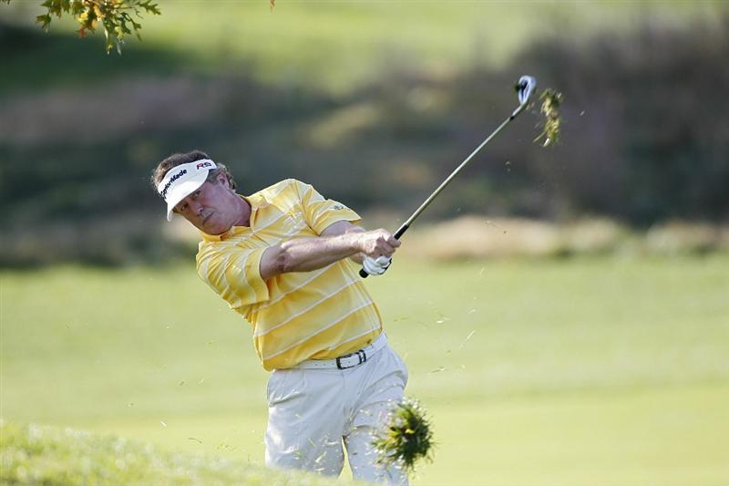 POTOMAC, MD - OCTOBER 10:  Michael Allen hits his third shot on the first hole during the final round of the Constellation Energy Senior Players Championship held at TPC Potomac at Avenel Farm on October 10, 2010 in Potomac, Maryland.  (Photo by Michael Cohen/Getty Images)