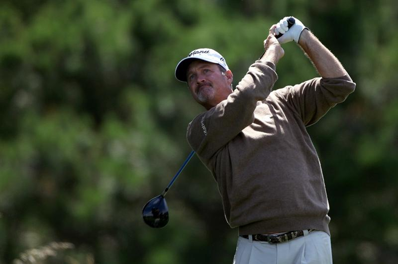 PEBBLE BEACH, CA - JUNE 19:  Jerry Kelly watches his tee shot on the second hole during the third round of the 110th U.S. Open at Pebble Beach Golf Links on June 19, 2010 in Pebble Beach, California.  (Photo by Donald Miralle/Getty Images)