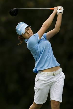 CHON BURI, THAILAND - FEBRUARY 20:  Shinobu Moromizato of Japan tees off on the 9th hole during round three of the Honda PTT LPGA Thailand at Siam Country Club on February 20, 2010 in Chon Buri, Thailand.  (Photo by Victor Fraile/Getty Images)