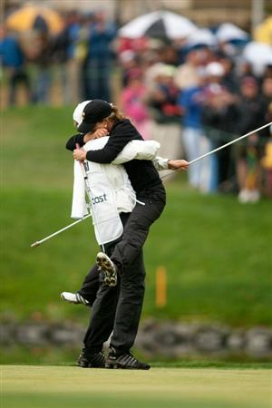 DANVILLE, CA - OCTOBER 17: Beatriz Recari of Spain embraces caddie Andreas Thorp following her victory at the  CVS/Pharmacy LPGA Challenge at Blackhawk Country Club on October 17, 2010 in Danville, California. (Photo by Darren Carroll/Getty Images)