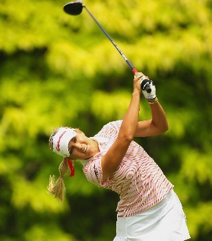SINGAPORE - FEBRUARY 28:  Natalie Gulbis of USA tees off on the sixth hole during the first round of the HSBC Women's Champions at Tanah Merah Country Club on February 28, 2008 in Singapore.  (Photo by Andrew Redington/Getty Images)