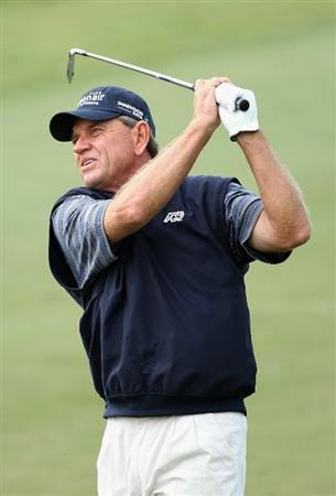 CONOVER, NC - OCTOBER 03:  Nick Price hits his second shot on the first hole during the final round of the Ensure Classic at the Rock Barn Golf & Spa on October 3, 2010 in Conover, North Carolina.  (Photo by Christian Petersen/Getty Images)