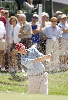 Jason Schultz hits out of a bunker on #18 during the fourth round of the Rheem Classic at Hardscrabble Country Club in Fort Smith, Arkansas, May 15, 2005. Schultz finished the tournament at -8 and in seventh place.Photo by Wesley Hitt/WireImage.com