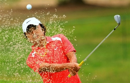 SAN DIEGO - JUNE 10:  Shingo Katayama of Japan hits a shot during the second day of previews to the 108th U.S. Open at the Torrey Pines Golf Course (South Course) on June 10, 2008 in San Diego, California.  (Photo by Scott Halleran/Getty Images)