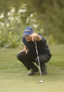 Jerry Pate lines-up a putt on the fifth green during the second round of the Champion's TOUR 2007 Boeing Classic at Snoqualmie Ridge Country Club on August 25, 2007 in Snoqualmie, Washington. Champions Tour - 2007 Boeing Classic - Second RoundPhoto by Steve Grayson/WireImage.com