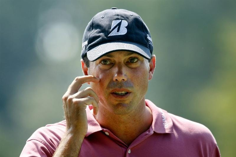 ATLANTA - SEPTEMBER 23:  Matt Kuchar looks on from the practice range prior to playing his first round of THE TOUR Championship presented by Coca-Cola at East Lake Golf Club on September 23, 2010 in Atlanta, Georgia.  (Photo by Scott Halleran/Getty Images)