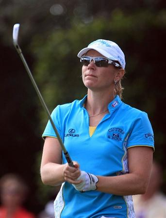 WEST PALM BEACH, FL - NOVEMBER 21:  Annika Sorenstam of Sweden watches her tee shot on the seventh hole during the second round of the ADT Championship at the Trump International Golf Club on November 21, 2008 in West Palm Beach, Florida.  (Photo by Scott Halleran/Getty Images)