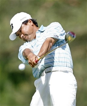 ROCHESTER, NY - MAY 24: Massy Kuramoto of Japan hits his tee shot on the 9th hole during the third round of the 69th Senior PGA Championship at Oak Hill Country Club - East Course on May 24, 2008 in Rochester, New York. (Photo by Hunter Martin/Getty Images)