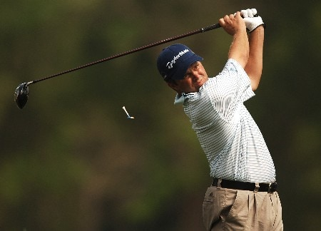 Robert Damron hits from the 12th tee during the first round of the 2005 Shell Houston Open at the Redstone Golf Club in Houston, Texas April 21, 2005.Photo by Steve Grayson/WireImage.com