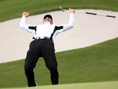 GOTENBA, JAPAN - NOVEMBER 11:  Brendan Jones of Australia celebrates his winning putt on the 18th hole during the final round of Sumitomo Visa Taiheiyo Masters at Taiheiyo Club, November 11, 2007 in Gotenba, Shizuoka Prefecture,  Japan.  (Photo by Koichi Kamoshida/Getty Images)