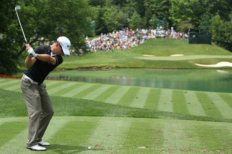 DUBLIN, OH - JUNE 02:  Zach Johnson hits a shot during the Memorial Skins Game prior to the start of the 2010 Memorial Tournament at the Muirfield Village Golf Club on June 2, 2010 in Dublin, Ohio.  (Photo by Scott Halleran/Getty Images)
