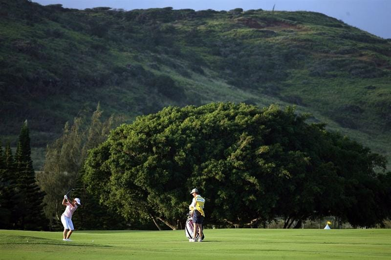 KAHUKU, HI - FEBRUARY 12:  Mika Miyazato of Japan hits her second shot on the 1st hole during the first round of the SBS Open on February 12, 2009  at the Turtle Bay Resort in Kahuku, Hawaii.  (Photo by Andy Lyons/Getty Images)