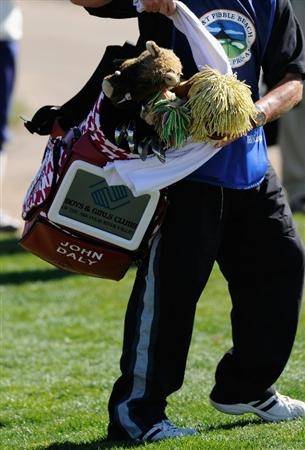 PEBBLE BEACH, CA - FEBRUARY 10:  The golf bag of John Daly has a screen to display adverts during the first round of the AT&T Pebble Beach National Pro-Am at Monterey Peninsula Country Club on February 10, 2011  in Pebble Beach, California.  (Photo by Stuart Franklin/Getty Images)