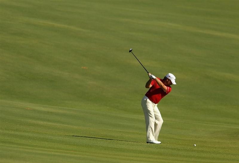 SOTOGRANDE, SPAIN - OCTOBER 29:  Graeme McDowell of Northern Ireland plays into the 11th green during the second round of the Andalucia Valderrama Masters at Club de Golf Valderrama on October 29, 2010 in Sotogrande, Spain.  (Photo by Richard Heathcote/Getty Images)