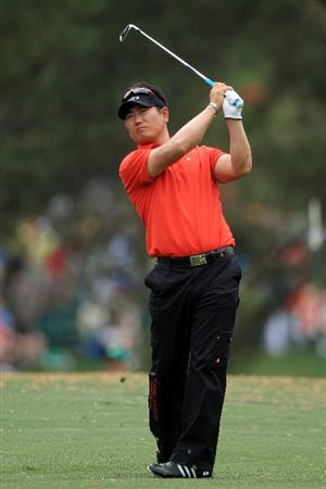 AUGUSTA, GA - APRIL 08:  Y.E. Yang of Korea hits a tee shot on the 17th hole during the first round of the 2010 Masters Tournament at Augusta National Golf Club on April 8, 2010 in Augusta, Georgia.  (Photo by David Cannon/Getty Images)