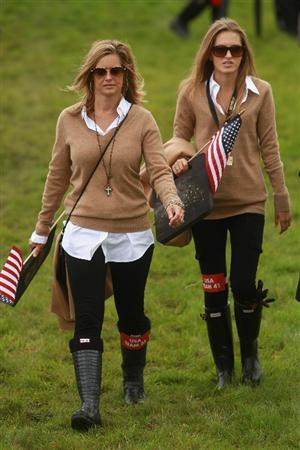 NEWPORT, WALES - OCTOBER 02:  Tabitha Furyk (L) and Alexandra Browne watch the play of Jim Furyk and Rickie Fowler of the USA during the rescheduled Afternoon Foursome Matches during the 2010 Ryder Cup at the Celtic Manor Resort on October 2, 2010 in Newport, Wales. (Photo by Andrew Redington/Getty Images)
