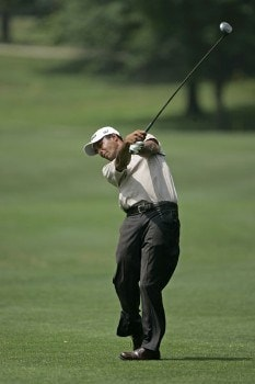 Arjun Atwal hits from the fairway on #3 in the fourth round the 2005 B.C. Open at En-Joi Golf Club in Endicott, New York. Sunday, July 17 2005.Photo by Chris Condon/PGA TOUR/WireImage.com
