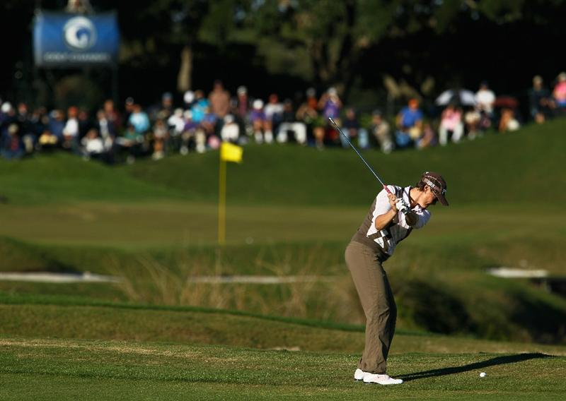 ORLANDO, FL - DECEMBER 05:  Maria Hjorth of Sweden hits her approach shot on the 18th hole during the final round of the LPGA Tour Championship at the Grand Cypress Resort on December 5, 2010 in Orlando, Florida.  (Photo by Scott Halleran/Getty Images)