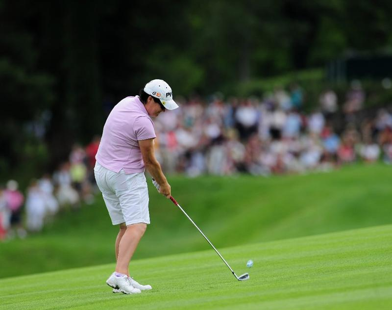 EVIAN-LES-BAINS, FRANCE - JULY 24:  Becky Brewerton of Wales plays her approach shot on the 15th hole during the second round of the Evian Masters at the Evian Masters Golf Club on July 24, 2009 in Evian-les-Bains, France.  (Photo by Stuart Franklin/Getty Images)