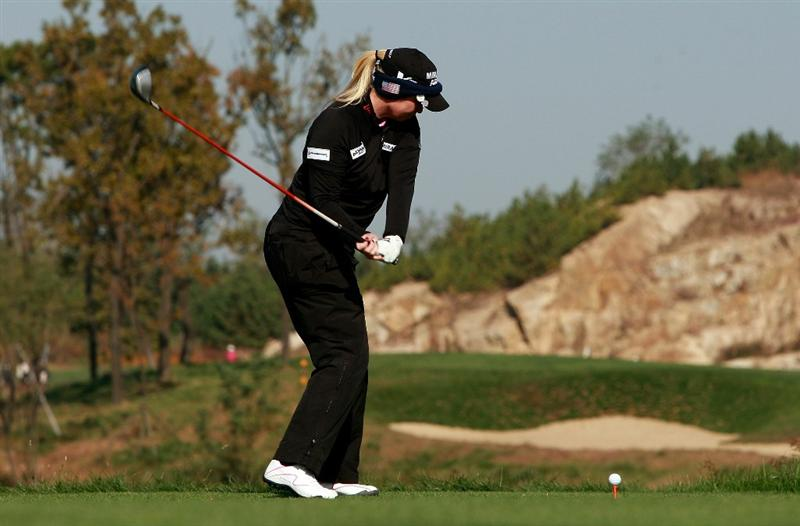 INCHEON, SOUTH KOREA - OCTOBER 29:  Brittany Lincicome of United States hits a tee shot on the second hole during the 2010 LPGA Hana Bank Championship at Sky 72 golf club on October 29, 2010 in Incheon, South Korea.  (Photo by Chung Sung-Jun/Getty Images)