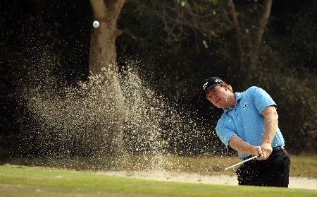 DELHI, INDIA - FEBRUARY 06:  Ernie Els of South Africa plays his third shot at the 14th hole during the Pro-Am for the Emaar-MGF Indian Masters at the Delhi Golf Club, on February 6, 2008 in Delhi, India.  (Photo by David Cannon/Getty Images)