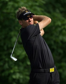 DUBLIN, OH - MAY 30:  Ian Poulter of England hit his tee shot on the 14th hole during the second round of The Memorial on May 30, 2008 at the Muirfield Village Golf Club in Dublin, Ohio.  (Photo by Andy Lyons/Getty Images)