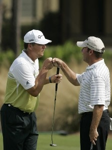 Kenny Perry and partner John Huston during the third and final round of the Merrill Lynch Shootout at the Tiburon Golf Club in Naples, Florida on November 12, 2006. PGA TOUR - 2006 Merrill Lynch Shootout - Final RoundPhoto by Michael Cohen/WireImage.com