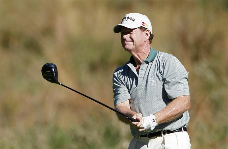 POTOMAC, MD - OCTOBER 08:  Tom Watson hits his drive on the sixth tee box during the second round of the Constellation Energy Senior Players Championship held at TPC Potomac at Avenel Farm on October 8, 2010 in Potomac, Maryland.  (Photo by Michael Cohen/Getty Images)