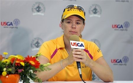 EDINA, MN - JUNE 25:  Annika Sorenstam of Sweden talks to the media prior to the 2008 U.S. Women's Open at Interlachen Country Club on June 25, 2008 in Edina, Minnesota.   (Photo by David Cannon/Getty Images)