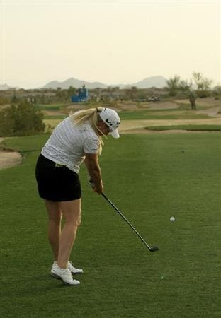 PHOENIX, AZ - MARCH 19:  Brittany Lincicome hits her tee shot on the 16th hole during the second round of the RR Donnelley LPGA Founders Cup at Wildfire Golf Club on March 19, 2011 in Phoenix, Arizona.  (Photo by Stephen Dunn/Getty Images)