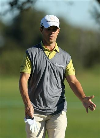 LA JOLLA, CA - JANUARY 28:  Mike Weir of Canada gestures during round two of the Farmers Insurance Open at Torrey Pines South Course on January 28, 2011 in La Jolla, California.  (Photo by Stephen Dunn/Getty Images)