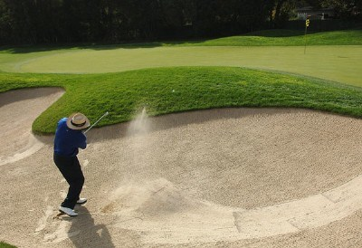 Jim Thorpe hits out of the greenside bunker on the par-three fourth hole during the second round of the Charles Schwab Cup Championship on October 26, 2007 at the Sonoma Golf Club in Sonoma, California Champions Tour - 2007 Charles Schwab Cup Championship - Second RoundPhoto by Marc Feldman/WireImage.com