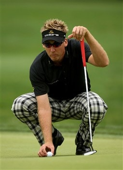 IRVING, TX - APRIL 25:  Ian Poulter of England places his ball on the green on the eighth hole during the second round of the EDS Byron Nelson Championship at TPC Four Seasons Resort Las Colinas on April 25, 2008 in Irving, Texas.  (Photo by Stephen Dunn/Getty Images)