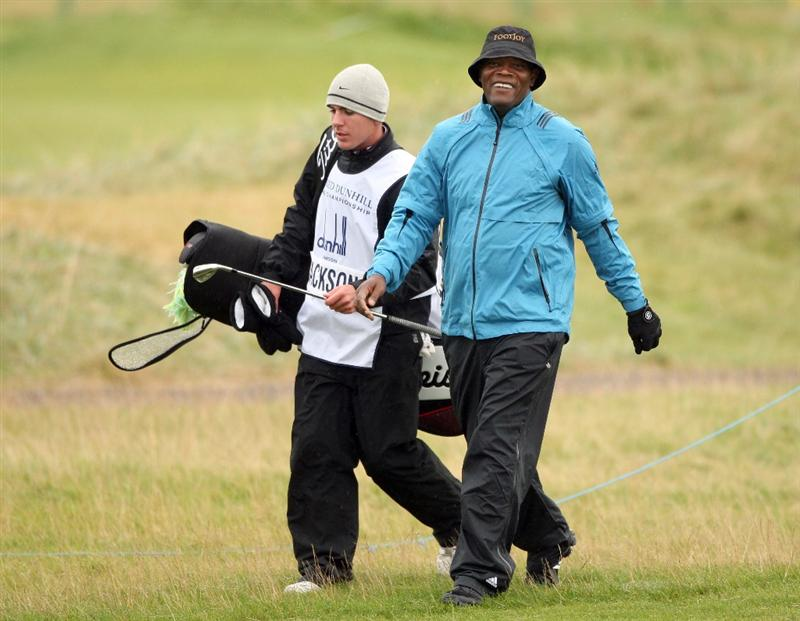 CARNOUSTIE, UNITED KINGDOM - OCTOBER 04:  Hollywood actor Samuel L.Jackson on the 14th hole during the third round of The Alfred Dunhill Links Championship at Carnoustie Golf Club on October 4, 2008 in Carnoustie, Scotland.  (Photo by Warren Little/Getty Images)
