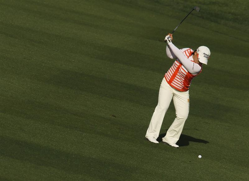 CITY OF INDUSTRY, CA - MARCH 25:  Jiyai Shin of South Korea hits her approach shot on the 18th hole during the second round of the Kia Classic on March 25, 2011 at the Industry Hills Golf Club in the City of Industry, California.  (Photo by Scott Halleran/Getty Images)