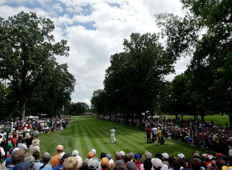 CHASKA, MN - AUGUST 16:  Y.E. Yang of South Korea hits his tee shot on the fourth hole during the final round of the 91st PGA Championship at Hazeltine National Golf Club on August 16, 2009 in Chaska, Minnesota.  (Photo by Jamie Squire/Getty Images)