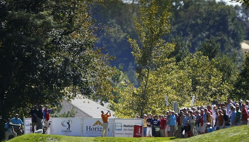 CANONSBURG, PA - SEPTEMBER 05:  Geoffrey Sisk watches his tee shot on the 16th hole hole during the final round of the Mylan Classic presented by CONSOL Energy at Southpointe Golf Club on September 5, 2010 in Canonsburg, Pennsylvania.  (Photo by Gregory Shamus/Getty Images)