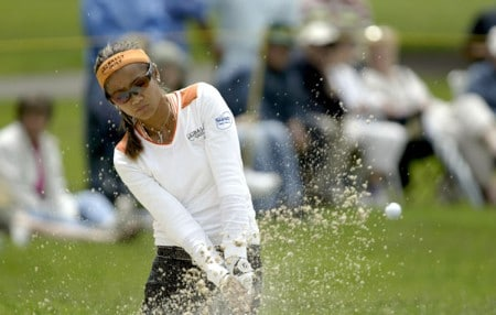 Jennifer Rosales out of a bunker on the 6th  hole  during the third round of the 2005 Wegman's Rochester LPGA at Locust Hill Country Club in  Pittsford, New York on June 18, 2005.Photo by Michael Cohen/WireImage.com