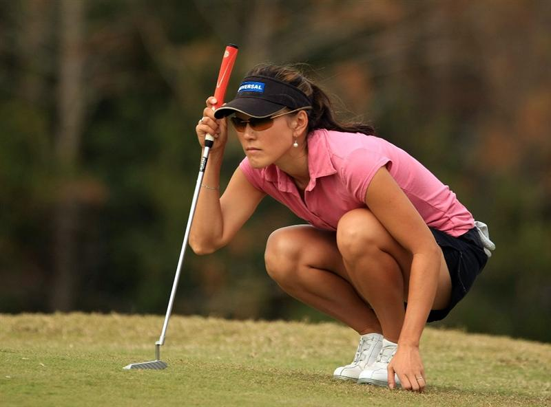 DAYTONA BEACH, FL - DECEMBER 06:  Jeanne  Cho-Hunicke lines up a putt on thye 11th green during the fourth round of the LPGA Qualifying School at LPGA International on December 6, 2008 in Daytona Beach, Florida.  (Photo by Scott Halleran/Getty Images)