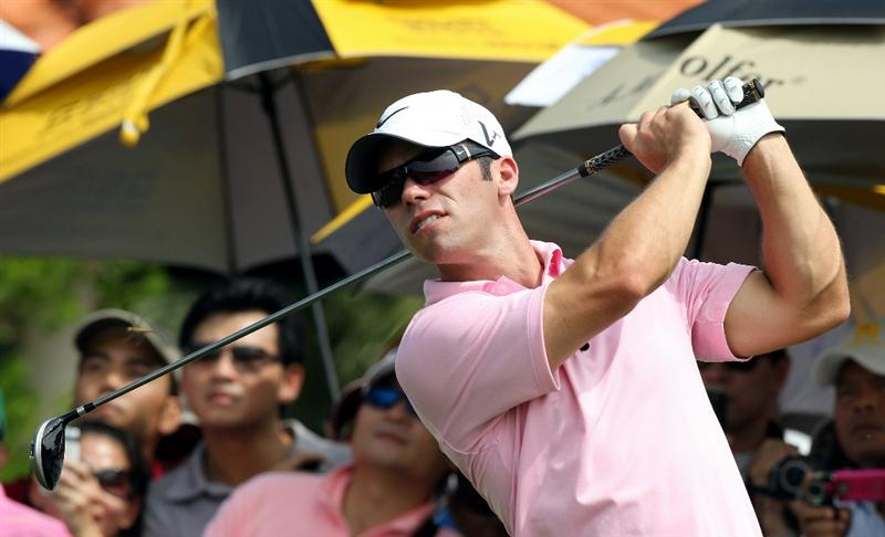 BANGKOK, THAILAND - NOVEMBER 08:  Paul Casey of England plays a tee shot on the 10th hole during the World Golf Salutes King Bhumibol Skins tournament at Amata Spring Country Club on November 8, 2010 in Bangkok, Thailand. (Photo by Stanley Chou/Getty Images)