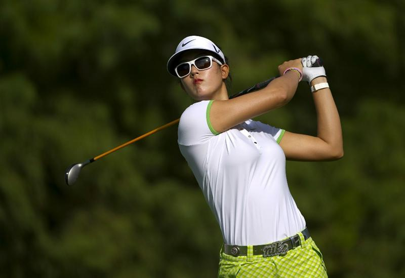 ROGERS, AR - SEPTEMBER 10:  Michelle Wie makes a tee shot during the first round of the P&G NW Arkansas Championship at the Pinnacle Country Club on September 10, 2010 in Rogers, Arkansas.  (Photo by Robert Laberge/Getty Images)
