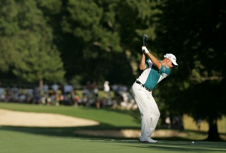 TULSA, OK - AUGUST 10:  Graeme Storm of England hits a shot on the fourth hole during the second round of the 89th PGA Championship at the Southern Hills Country Club on August 10, 2007 in Tulsa, Oklahoma.  (Photo by Streeter Lecka/Getty Images)