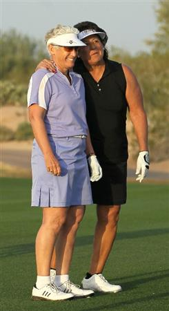 PHOENIX, AZ - MARCH 18:  LPGA Hall of Famers Patty Sheehan (L) and Nancy Lopez talk on the first fairway as they play an honorary roung during the first round of the RR Donnelley LPGA Founders Cup at Wildfire Golf Club on March 18, 2011 in Phoenix, Arizona.  (Photo by Stephen Dunn/Getty Images)
