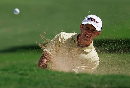 HONOLULU - JANUARY 13:  Tim Wilkinson of New Zealand hits out of a bunker on the first hole during the final round of the Sony Open at the Waialae Country Club on January 13, 2008 in Honolulu, Oahu, Hawaii.  (Photo by Jeff Gross/Getty Images)