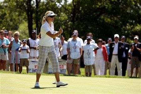 SUGAR GROVE, IL - JULY 14:  Carin Koch of Team Europe reacts after she made a putt during an exhibition four-ball match against Team USA at the preview event for the 2009 Solheim Cup at Rich Harvest Farms golf course on July 14, 2008 in Sugar Grove, Illinois.  (Photo by Jonathan Ferrey/Getty Images)