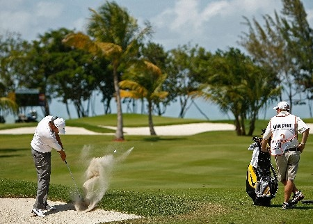 RIO GRANDE, PUERTO RICO - MARCH 22:  Bo Van Pelt hits out of the sand on the 11th hole during the third round of the Puerto Rico Open presented by Banco Popular held on March 22, 2008 at Coco Beach Golf & Country Club in Rio Grande, Puerto Rico.  (Photo by Mike Ehrmann/Getty Images)