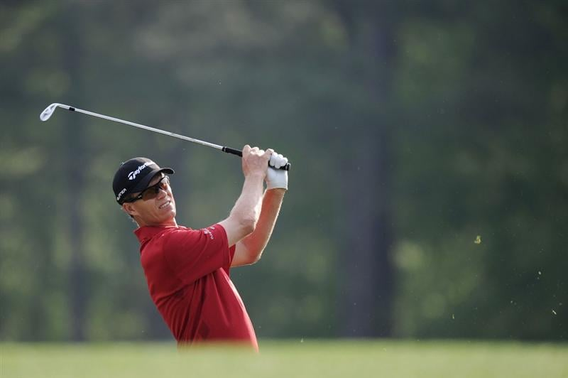 AUGUSTA, GA - APRIL 07:  John Senden of Australia hits a shot during a practice round prior to the 2010 Masters Tournament at Augusta National Golf Club on April 7, 2010 in Augusta, Georgia.  (Photo by Harry How/Getty Images)